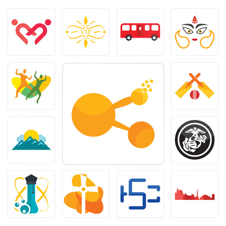 Set Of 13 simple editable icons such as bitconnect, leipzig hd, hsc, church, science, usmc, mountain, cricket, can be used for mobile, web UI Illustration