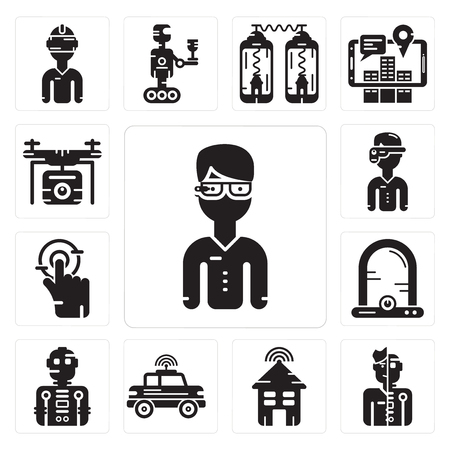 Set Of 13 simple editable icons such as  glasses, Humanoid, Smart house, Car, Robot, Egg incubator, Tap, Augmented reality, Drone can be used for mobile, web UI