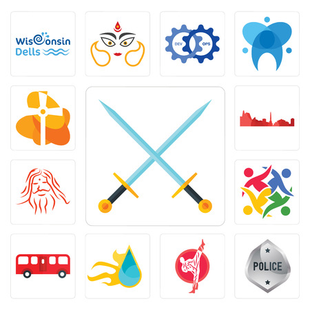 Set Of 13 simple editable icons such as excalibur, generic police, karate, liquid nitro, bus, unity, patanjali, leipzig hd, church can be used for mobile, web UI