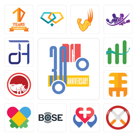 Set Of 13 simple editable icons such as 30th anniversary, non smoking, healt, autism, eee, save the rhino, continuous improvement, dth can be used for mobile, web UI