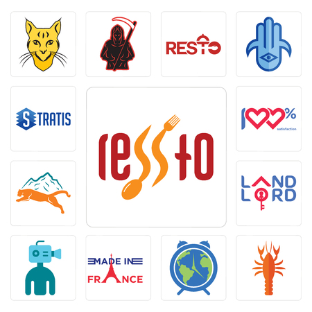 Set Of 13 simple editable icons such as, crawfish, earth hour, made in france, cameraman, landlord, mountain lion, 100 satisfaction, stratis can be used for mobile, web UI