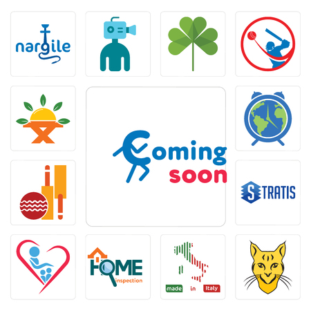 Set Of 13 simple editable icons such as coming soon, bobcat, made in italy, home inspection, orphanage, stratis, cricket club, earth hour, farm to table can be used for mobile, web UI Foto de archivo - 104717292