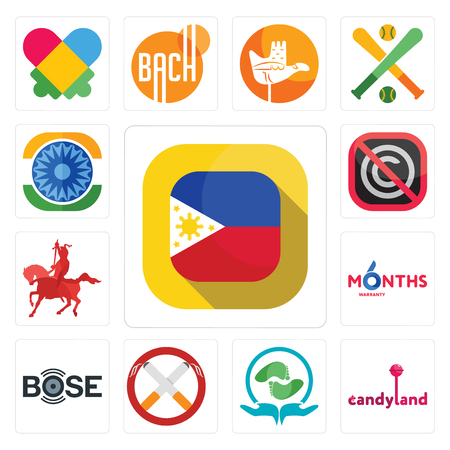 Set Of 13 simple editable icons such as philippine flag, candyland, acupressure, non smoking, bose, 6 months warranty, knight on horseback, no copyright, ashok chakra can be used for mobile, web UI