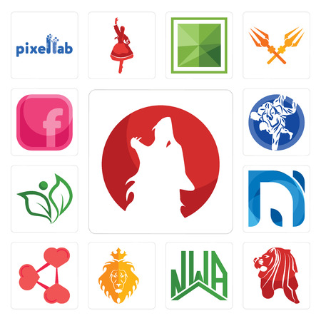 Set Of 13 simple editable icons such as kurt, singapore lion, nwa, judah and the share png, na, leaf, jiu jitsu, pink fb can be used for mobile, web UI