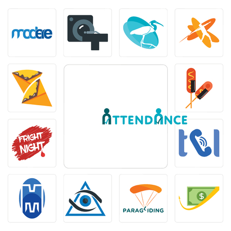 Set Of 13 simple editable icons such as attendance, cashback, paragliding, third eye, double m, , fright night, corn dog, crepe can be used for mobile, web UI