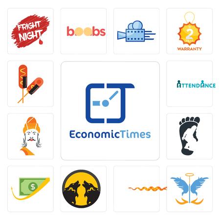 Satz von 13 einfachen bearbeitbaren Symbolen wie wirtschaftliche Zeiten, Schutzengel, Klapperschlange, Packwolf, Cashback, Bigfoot, Ashoka, Anwesenheit, Corn Dog kann für mobile, Web-Benutzeroberfläche verwendet werden