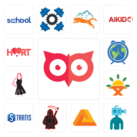 Set Of 13 simple editable icons such as minimal owl, cameraman, penrose, grim reaper, stratis, farm to table, little black dress, earth hour, hart can be used for mobile, web UI