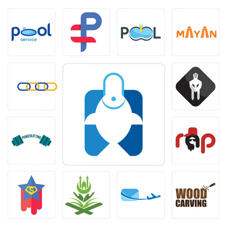 Set Of 13 simple editable icons such as fishing store, wood carving, air mail, quran, superstar, rap, powerlifting, white spartan, supply chain can be used for mobile, web UI