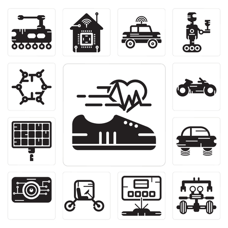 Set Of 13 simple editable icons such as Shoe, Robot, Hologram, Vehicle, Eye scan, Flying car, Solar panel, Motorbike, Graphene can be used for mobile, web UI Ilustracja