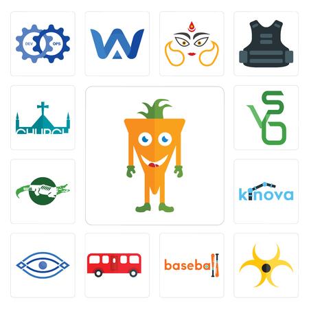 Set Of 13 simple editable icons such as mascot, biohazard, baseball, bus, eye, kinova, crocs, bvs, church can be used for mobile, web UI Illustration