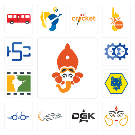 Set Of 13 simple editable icons such as siddhivinayak, durga, dgk, drift, bike, cub scout, bollywood, devops, hsc can be used for mobile, web UI Çizim