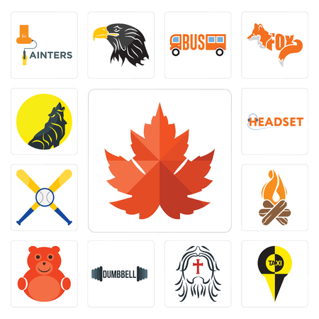 Set Of 13 simple editable icons such as maple leaf, , dumbbell, cute bear, bonfire, baseball team, headset, can be used for mobile, web UI