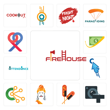 Set Of 13 simple editable icons such as firehouse, ct scan, corn dog, ashoka, comunication, fastclick, attendance, cashback, double p can be used for mobile, web UI