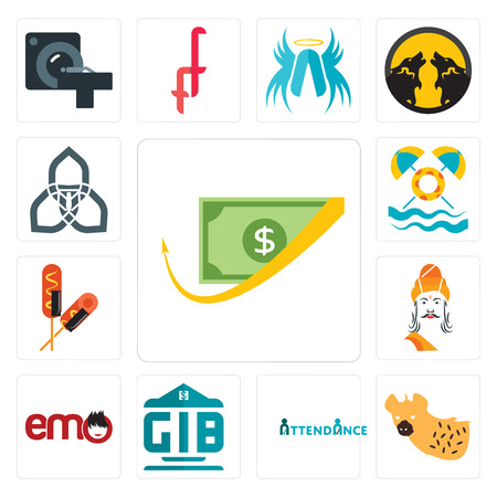 Set Of 13 simple editable icons such as cashback, hyena, attendance, generic bank, emo, ashoka, corn dog, pool party, triquetra can be used for mobile, web UI