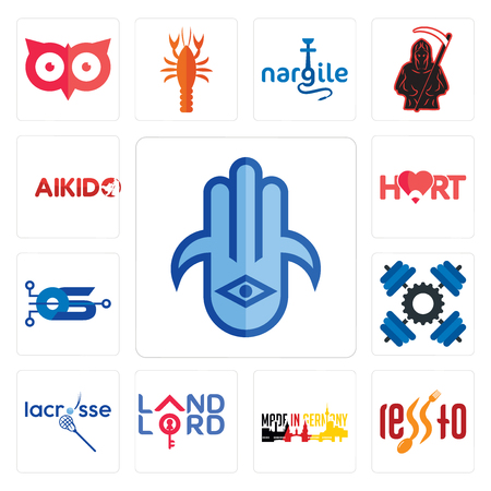 Set Of 13 simple editable icons such as hamsa, , made in germany, landlord, lacrosse, operating system, hart, aikido can be used for mobile, web UI