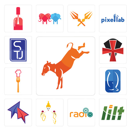 Set Of 13 simple editable icons such as kicking mule, lilt, , laxmi, telegram, quintessentially, resturent, knights templar, stu can be used for mobile, web UI Illustration