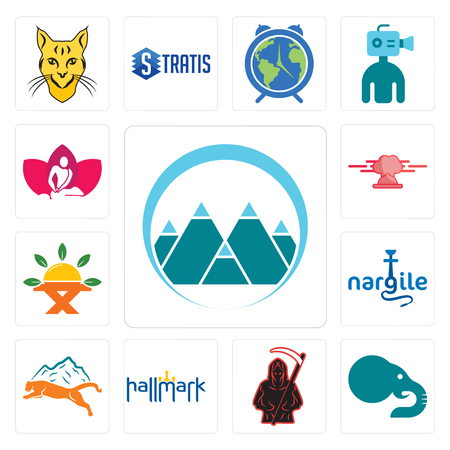 Set Of 13 simple editable icons such as mont, elephant, grim reaper, hallmark, mountain lion, nargile, farm to table, catering, massage therapist can be used for mobile, web UI