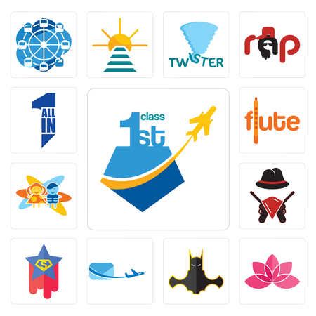 Set Of 13 simple editable icons such as, lotos, bat man, air mail, superstar, outlaws, childcare, flute, all in one can be used for mobile, web UI