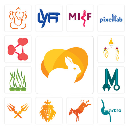 Set Of 13 simple editable icons such as rabit, gastro, kicking mule, judah and the lion, trishul, photo mechanic, spirulina, laxmi, share png can be used for mobile, web UI