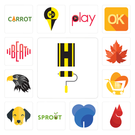 Set Of 13 simple editable icons such as highway, blood drop, dent, sprout, dog face, trolley, eagle head, maple leaf, beat can be used for mobile, web UI