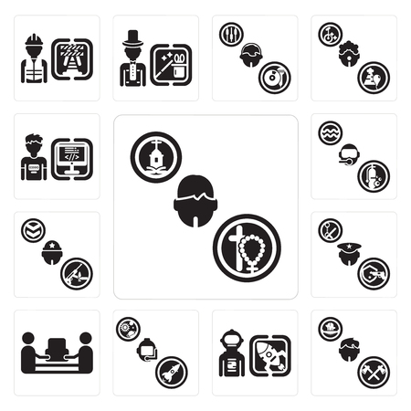 Set Of 13 simple editable icons such as Priest, Lumberjack, Spaceman, Astronaut, mover, Policeman, Soldier, Diver, Programmer can be used for mobile, web UI