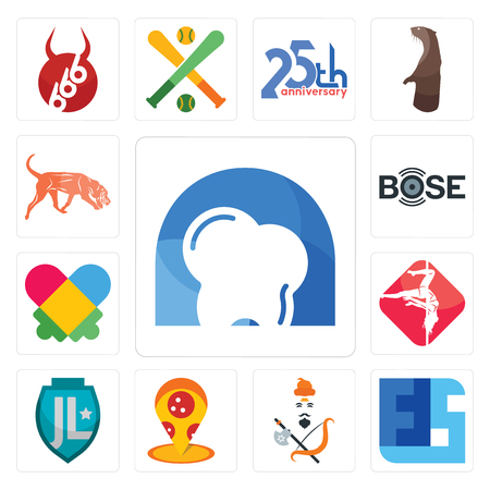 Set Of 13 simple editable icons such as d dentist, ffs, brahmin, pizza place, , pole dance, autism, bose, bloodhound can be used for mobile, web UI