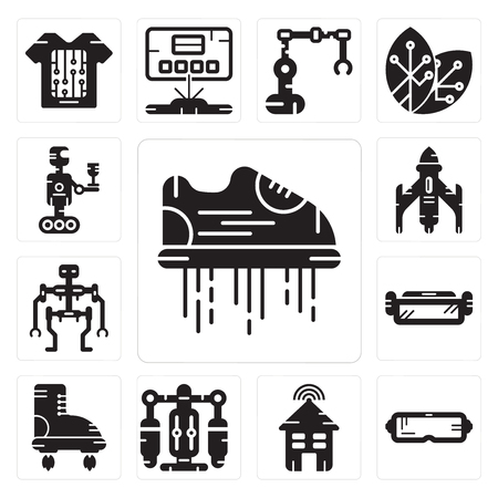 Set Of 13 simple editable icons such as Flying shoes, Oculus rift, Smart house, Jet pack, Boots, Ar glasses, Robot, Rocket, Robot can be used for mobile, web UI Stock Vector - 102471230