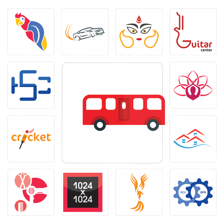 Set Of 13 simple editable icons such as bus, devops, anka, 1024x1024, salon, emlak, cricket, lotus, hsc can be used for mobile, web UI
