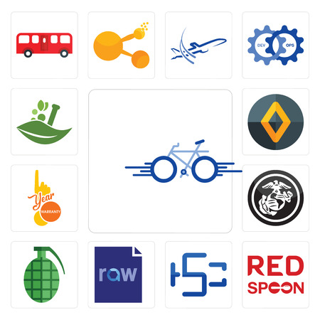 Set Of 13 simple editable icons such as bike, spoon on its, hsc, raw file, grenade, usmc, 1 year warranty, renault, ayurvedic can be used for mobile, web UI