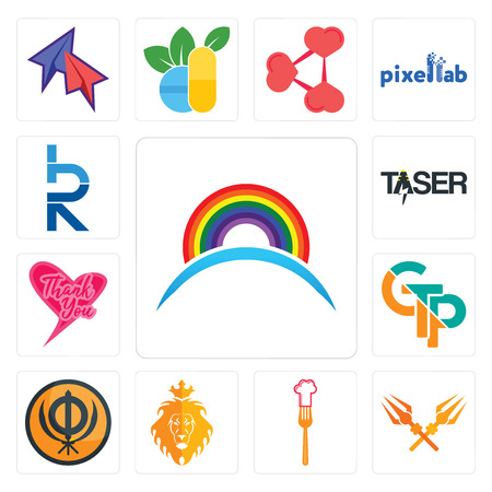 Set Of 13 simple editable icons such as rainbow, trishul, resturent, judah and the lion, sikhism, gtp, thank you, taser, hrd can be used for mobile, web UI