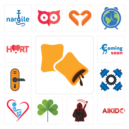 Set Of 13 simple editable icons such as krave, aikido, grim reaper, three leaf clover, orphanage, , door knob, coming soon, hart can be used for mobile, web UI