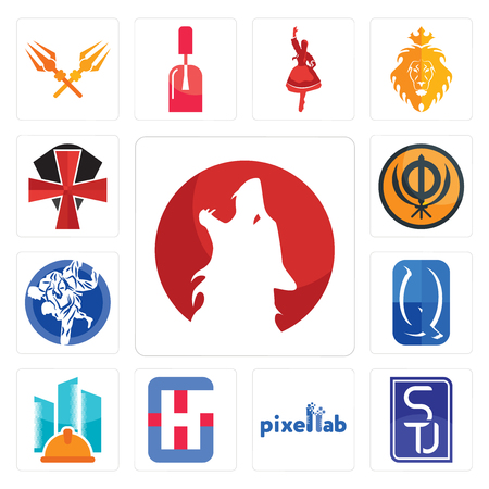 Set Of 13 simple editable icons such as kurt, stu, pixellab, generic hospital, general contractor, quintessentially, jiu jitsu, sikhism, knights templar can be used for mobile, web UI Stok Fotoğraf - 105592610