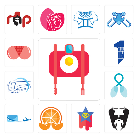Set Of 13 simple editable icons such as food photography, vikings, superstar, mandarin, air mail, lung cancer, bus company, all in one, can be used for mobile, web UI