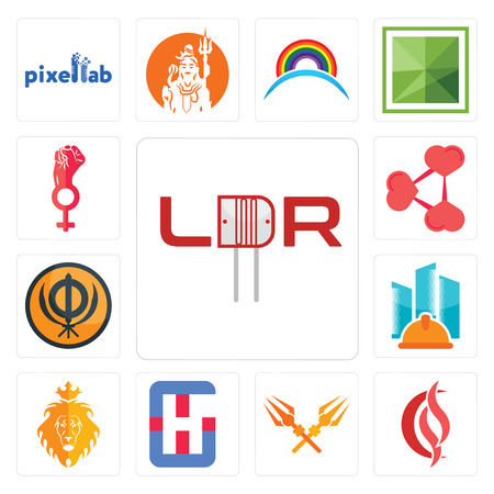 Set Of 13 simple editable icons such as ldr, scs, trishul, generic hospital, judah and the lion, general contractor, sikhism, share png, women empowerment can be used for mobile, web UI