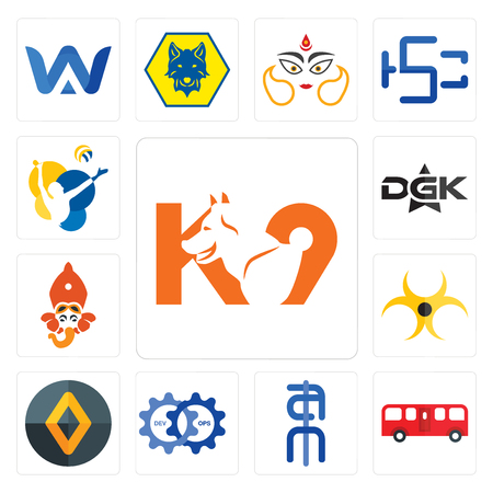 Set Of 13 simple editable icons such as k9, bus, ain, devops,    biohazard, siddhivinayak, dgk, volleyball can be used for mobile, web UI