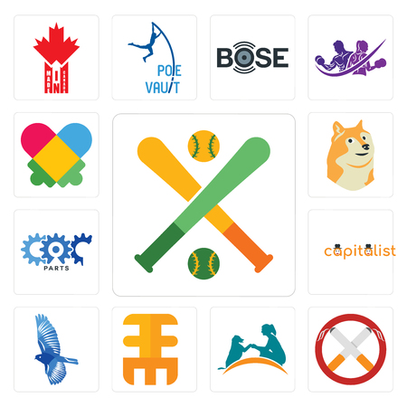 Set Of 13 simple editable icons such as fantasy baseball, non smoking, dog training, eee, bird, capitalist, carparts, doge, autism can be used for mobile, web UI Vektorové ilustrace