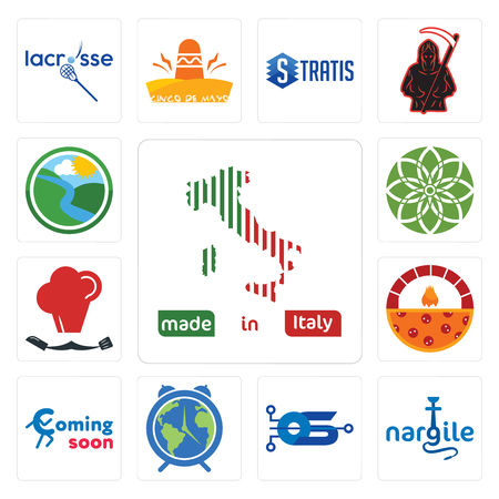 Set Of 13 simple editable icons such as made in italy, nargile, operating system, earth hour, coming soon, brick oven pizza, master chef, jasmine, creek can be used for mobile, web UI