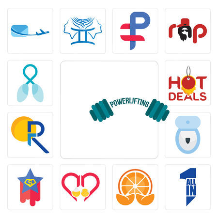 Set Of 13 simple editable icons such as powerlifting, all in one, mandarin, senior care, superstar, toilet bowl, pr, hot deals, lung cancer can be used for mobile, web UI