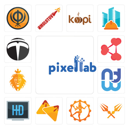 Set Of 13 simple editable icons such as pixellab, trishul, nataraj, samosa, hi def, wnd, judah and the lion, share png, tesla can be used for mobile, web UI Illustration
