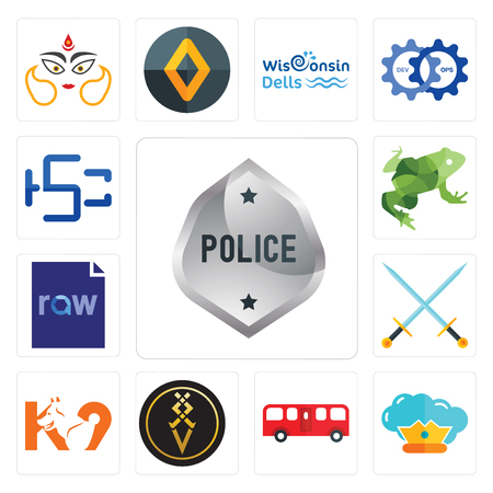 Set Of 13 simple editable icons such as generic police, supreme, bus, luxury, k9, excalibur, raw file, big frog, hsc can be used for mobile, web UI