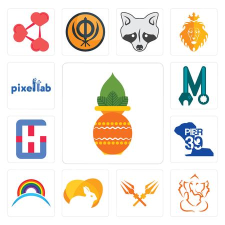 Set Of 13 simple editable icons such as kalash, ganesh ji, trishul, rabit, rainbow, pier 39, generic hospital, photo mechanic, pixellab can be used for mobile, web UI