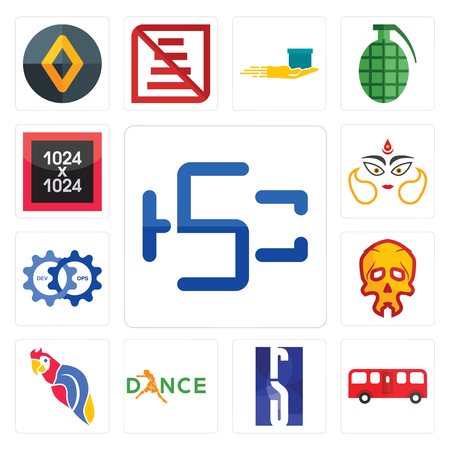 Set Of 13 simple editable icons such as hsc, bus, rs, dance, parrot, skull, devops, durga, 1024x1024 can be used for mobile, web UI Stock Illustratie