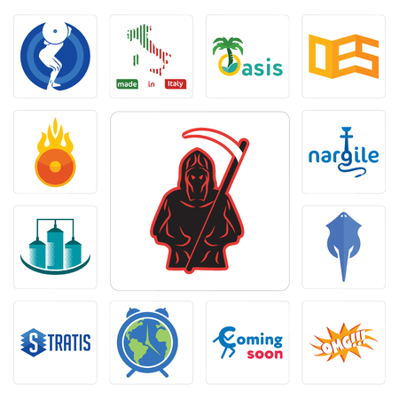 Set Of 13 simple editable icons such as grim reaper, omg, coming soon, earth hour, stratis, stingray, silo, nargile, o fire can be used for mobile, web UI