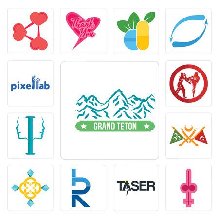 Conjunto de 13 iconos editables sencillos como grand teton, shemale, taser, hrd, jewellry, imperio otomano, psicología, krav maga, pixellab puede utilizarse para móviles, la interfaz de usuario web