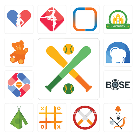 Set Of 13 simple editable icons such as fantasy baseball, brahmin, non smoking, tic tac toe, teepee,   pharma company, d dentist, can be used for mobile, web UI Çizim