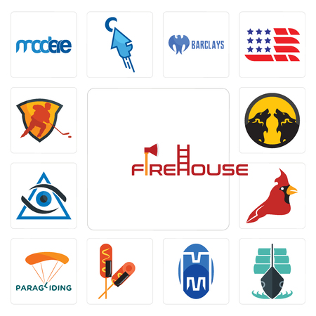 Set Of 13 simple editable icons such as firehouse, tall ship, double m, corn dog, paragliding, cardinal bird, third eye, pack wolf, power play hockey can be used for mobile, web UI Banque d'images - 102472667