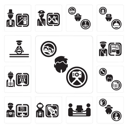 Set Of 13 simple editable icons such as Photographer, Gardener, mover, Spaceman, Programmer, Secretary, Worker, Postman, Driver can be used for mobile, web UI