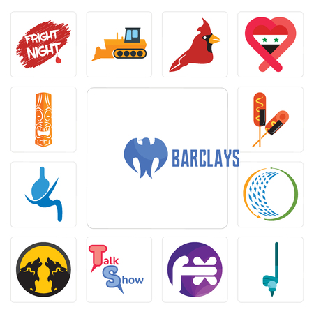 Set Of 13 simple editable icons such as barclays bank, , fx white, talk show, pack wolf, general trading, gastroenterology, corn dog, tiki can be used for mobile, web UI