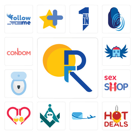 Set Of 13 simple editable icons such as pr, hot deals, air mail, freemasons, senior care, sex shop, toilet bowl, house with wings, condom can be used for mobile, web UI