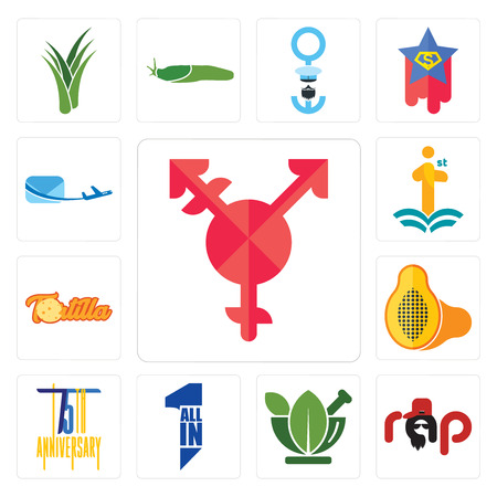 Set Of 13 simple editable icons such as transgender, rap, ayurvedic, all in one, 75th anniversary, papaya, tortilla, first class, air mail can be used for mobile, web UI